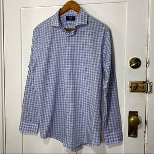 1901 Trim Fit Blue Gray Plaid Shirt 16 1/2 36/37